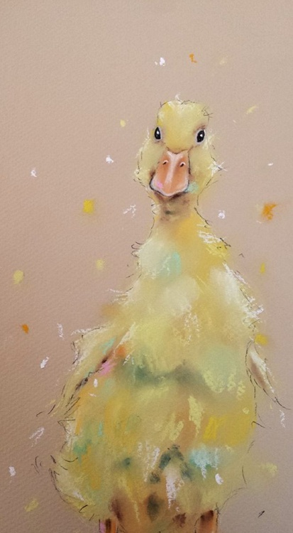Cute Baby Yellow Duckling - Pastel painting on paper - Impressionist - Image 0