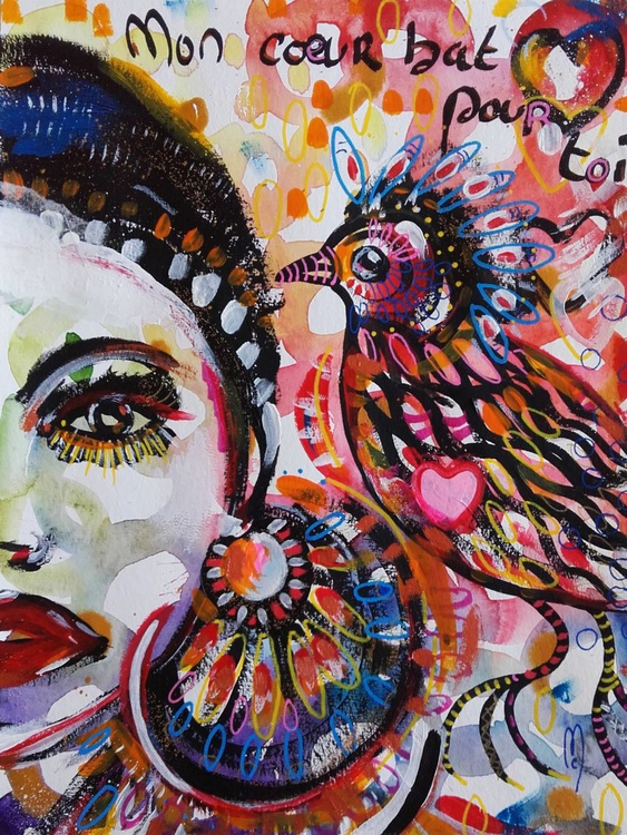 Woman and Bird - Original Watercolor and Ink - Céline Marcoz Art - Image 0