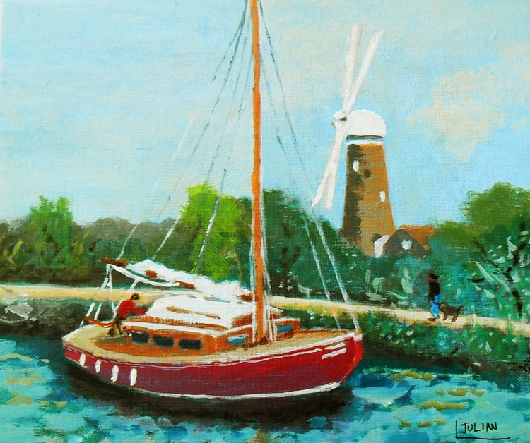 Sailing on the Norfolk broads - an original acrylic painting - Image 0