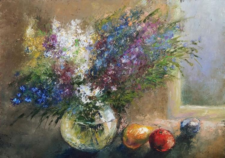 Wild flowers, 70x50 cm, original artwork, FREE SHIPPING - Image 0