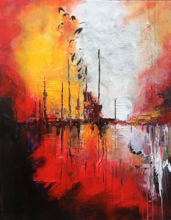 """""""Somewhere 7"""" ,  Large Abstract Acrylic Painting - 28x36inches - Image 0"""
