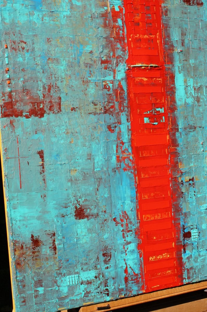 Primitive Abstract Red Line 2016 Acrylic Painting By