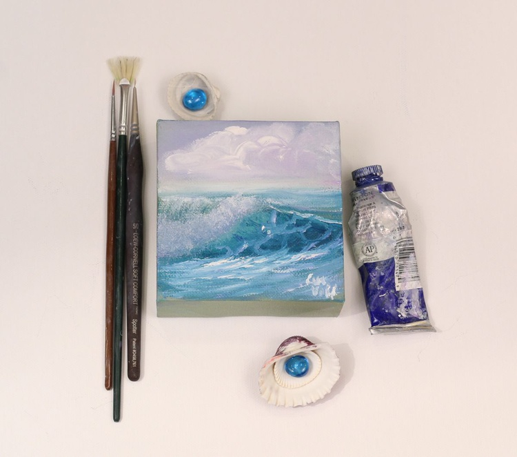 """Ocean Waves XXIII 4x4"""" small seascape oil painting on canvas - Image 0"""