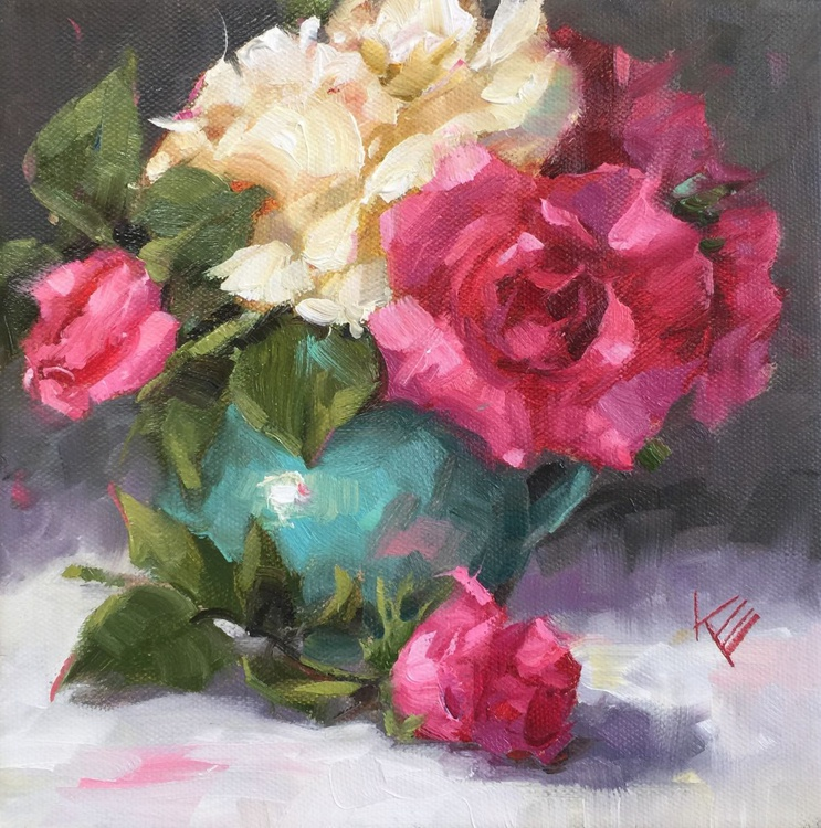 Roses in Turquoise Jar - Image 0