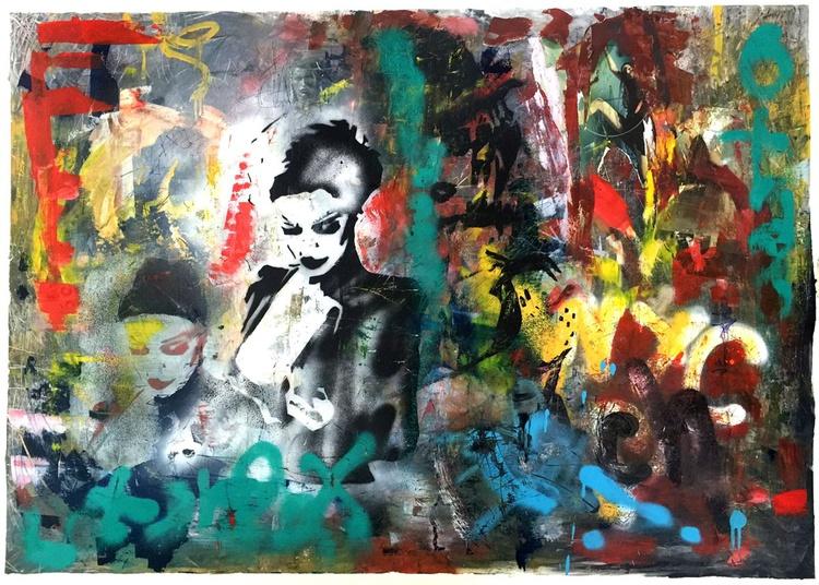 "'NYC Graffiti Vixen"" - original oil painting and spray paint - Image 0"