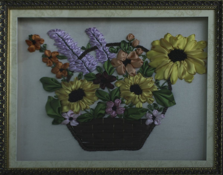 Basket With Colorful Flowers - Image 0
