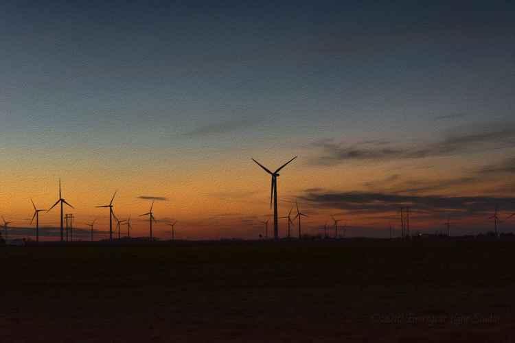 Prairie Wind Turbines at Twilight -