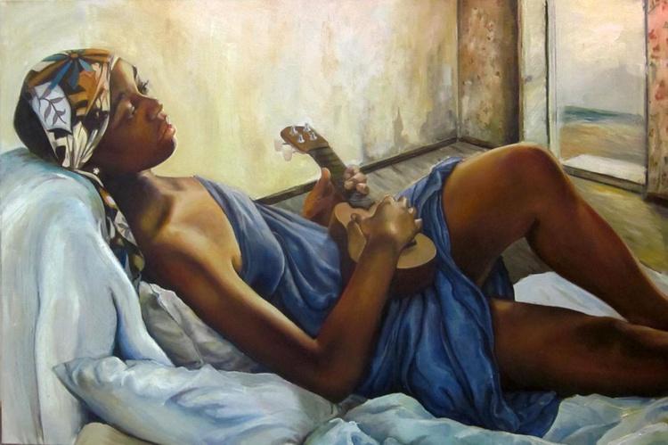 """Ms Gisele's Ukelele Original Oil  on canvas 24""""x36"""" - Image 0"""