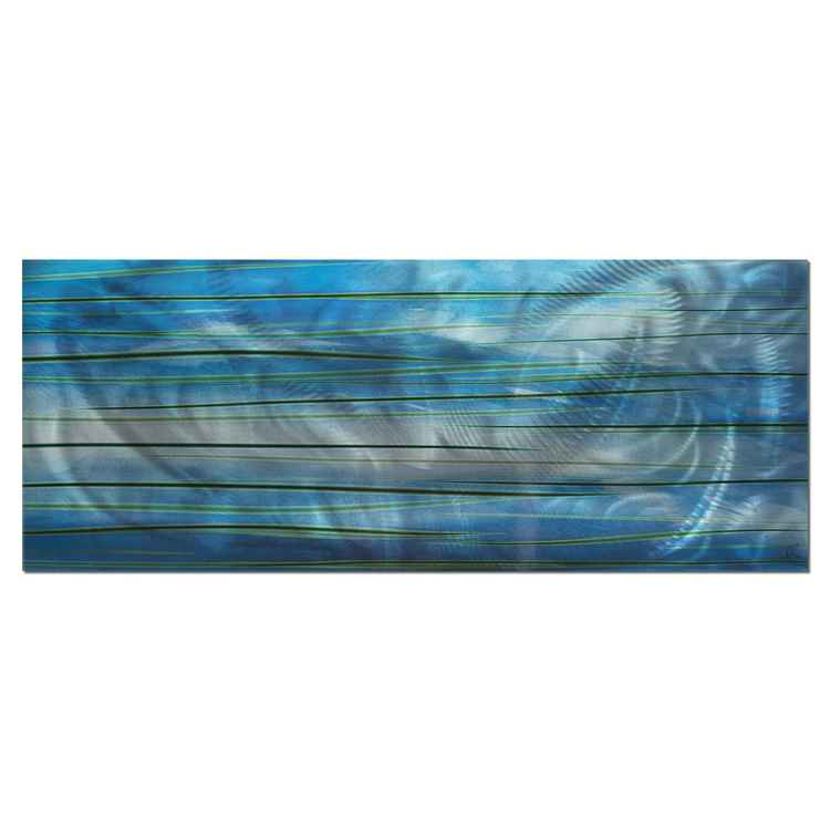 Ocean View | Calming Blue Streak Wall Artwork, Giclée on Metal