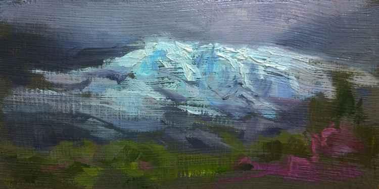 Matanuska Glacier, Alaska en Plein Air on Handmade Glacier Silt Panel -
