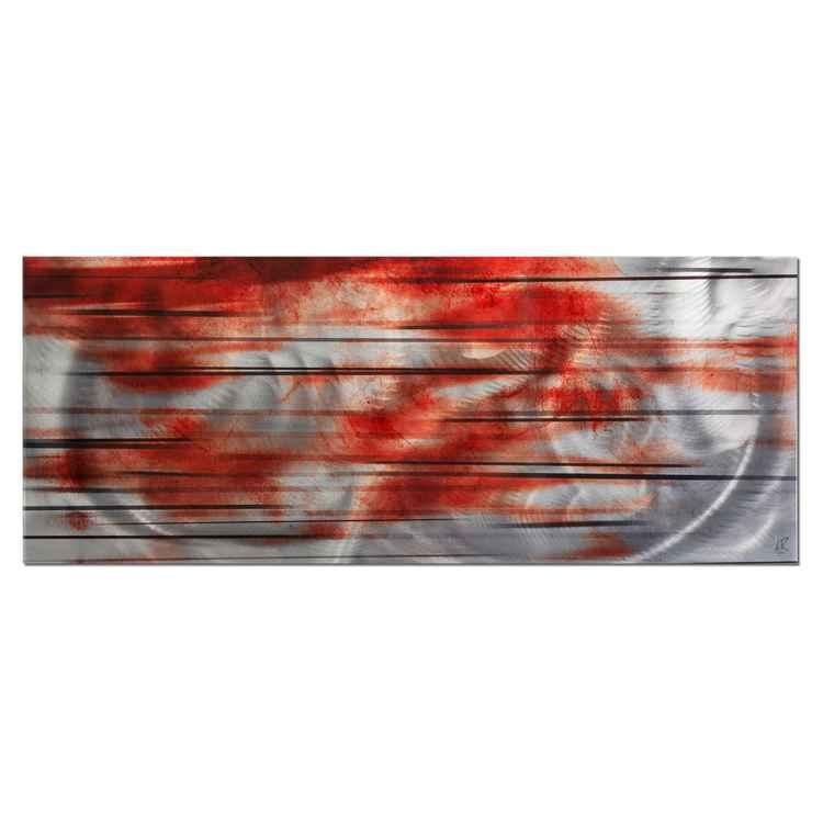Momentum |  Orange Streak Abstract Metal Wall Art, Giclée on Metal