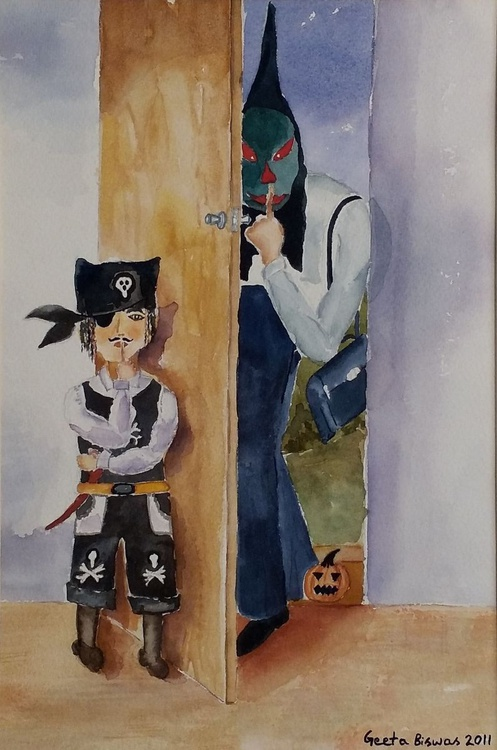 Trick-or-treat, Humor watercolor painting - Image 0
