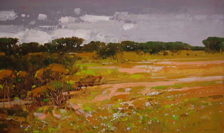 Landscape, Original oil painting, Meadow, One of a kind, Signed with Certificate of Authenticity - Image 0