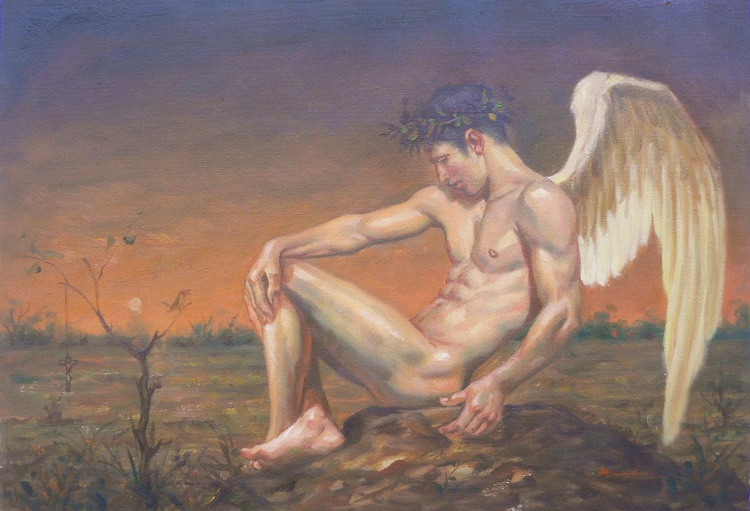 ORIGINAL OIL PAINTING NUDE ART ANGEL OF MALE NUDE ON LINEN#16-7-21 - Image 0