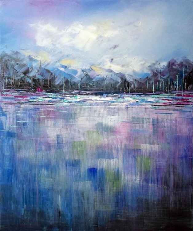 Frozen Island - Abstract Acrylic Art Painting - 20x24 inch, 2015 [Discounted Sale] -