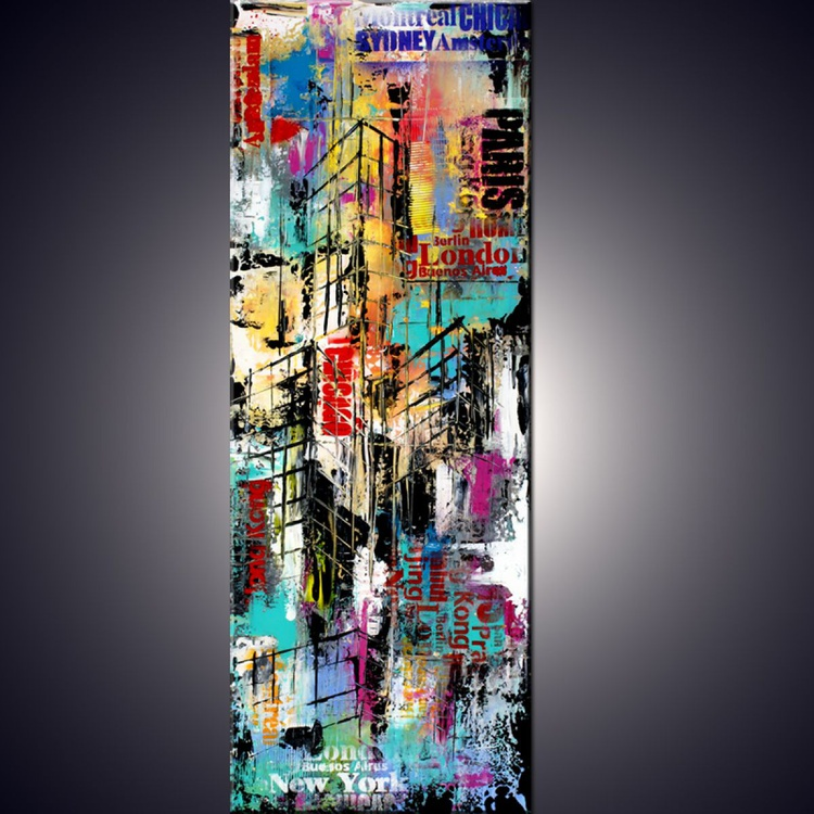 """"""" Touching the clouds """"Original Abstract Urban Cityscape Painting, Art Painting  industrial modern abstract painting sofa art - Image 0"""