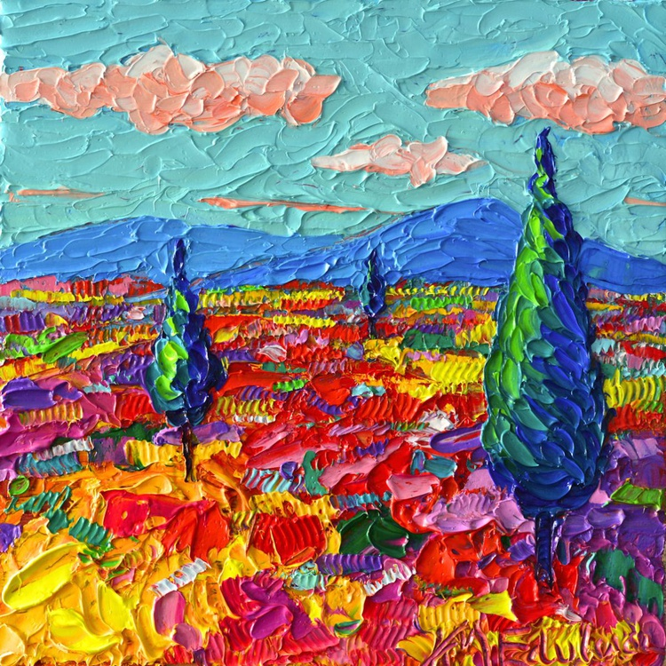 COLOURFUL WILDFLOWERS FIELD - abstract landscape modern impressionist floral miniature palette knife oil painting - Image 0
