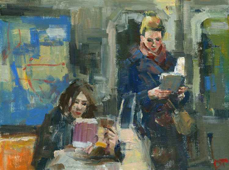 Two Figures Reading in Subway -