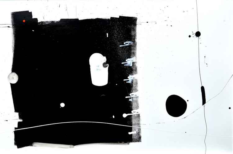 Curious Big Black Square Running Away from Black Blob Over There Painting -