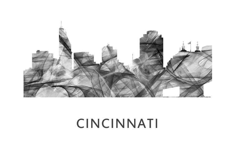 Cincinnati Ohio Skyline WB BW