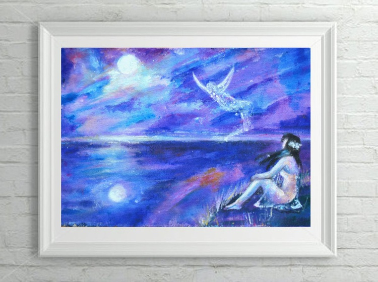 """Fantasy Skyscape Painting - """"Angel"""" Acrylic on Canvas - Image 0"""