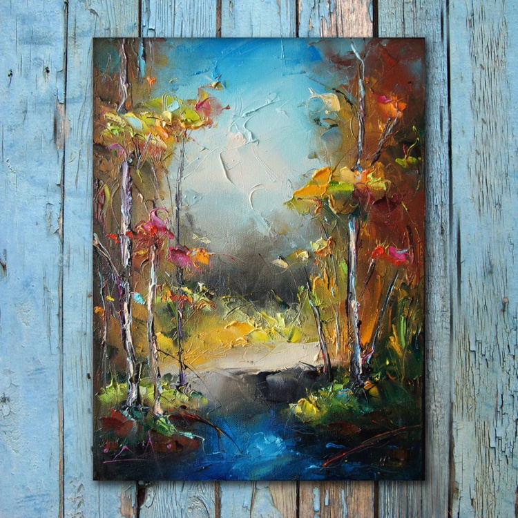 Spring landscpae, oil painting, free shipping - Image 0
