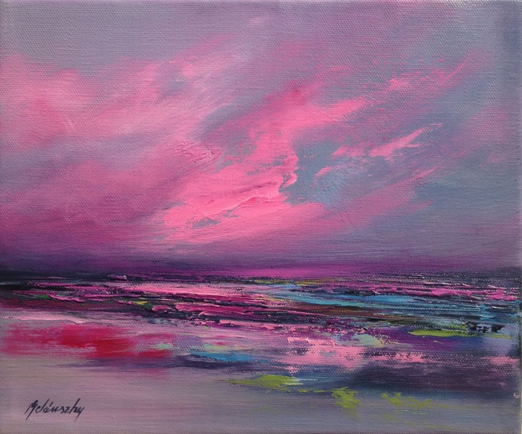 Pink Sky - 25 x 30 cm, abstract landscape oil painting, gray, purple, magenta, pink - Image 0