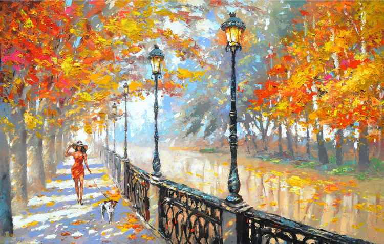 Autumn - oil Painting with palette knife by Dmitry Spiros. Size 28 x 44 in, 70 x 110 cm, 2014