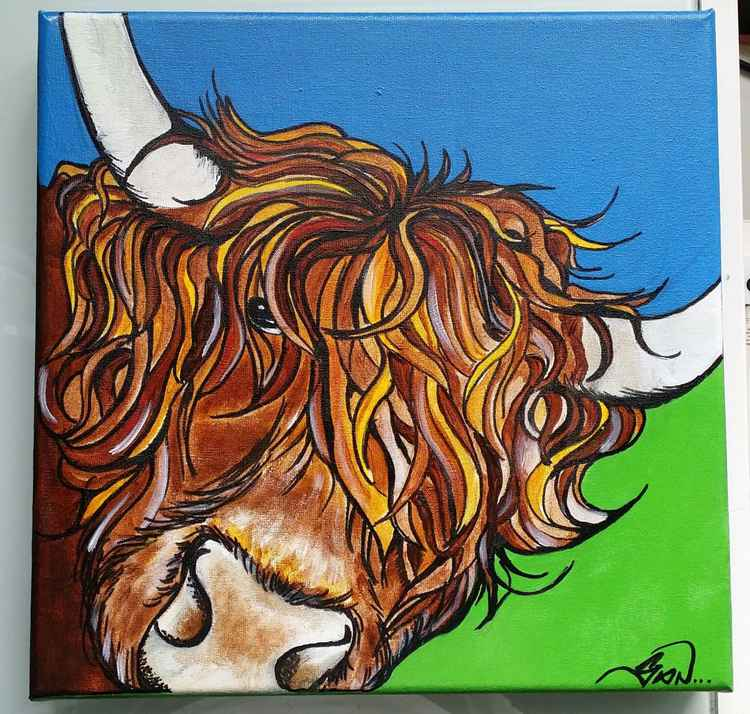 Highland cow-commissioned art work