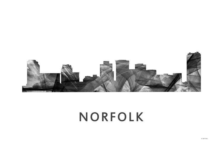 Norfolk Virginia Skyline WB BW