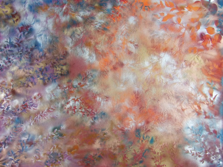 Large abstract floral painting 120x160 cm unstretched canvas Morning fog by artist Ksavera - Image 0