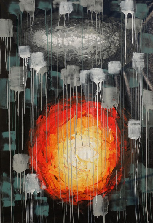 SPACE Large abstract black acrylic painting 110x160 cm unstretched canvas 65 art original artwork by artist Ksavera - Image 0