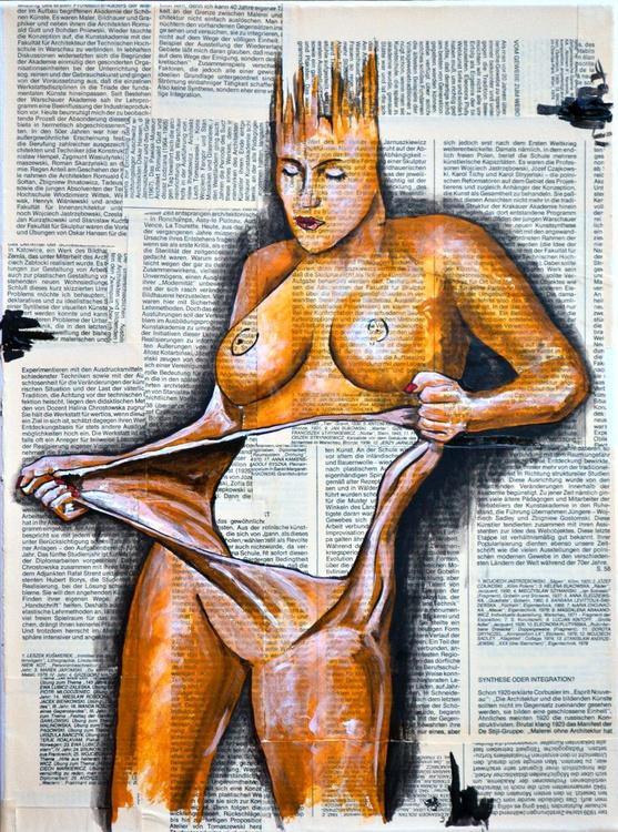 Naked Frustration - Original Acrylic Painting on Decoupage Canvas - Image 0