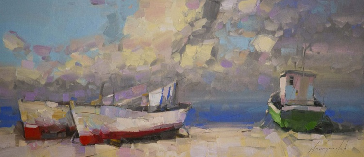 Boats on the Shore  Handmade oil painting One of a kind Signed - Image 0
