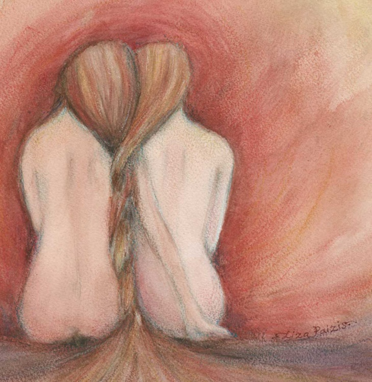 The Fire friendship twin sisters gemini painting - Image 0