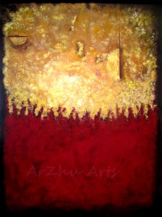 Large Gold and Red Abstract Art, Original Acrylic Painting, Modern Artwork on Canvas - Image 0