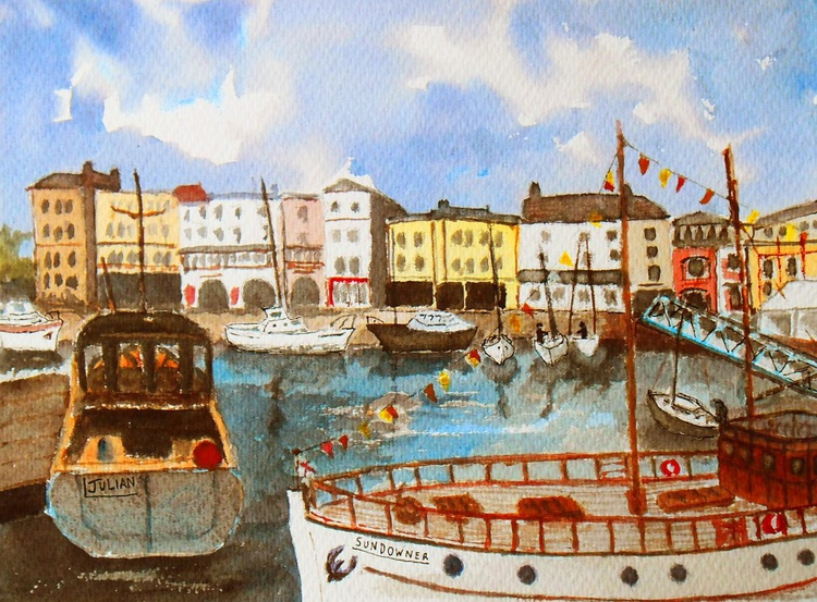 Boats in Ramsgate Harbour, An original watercolour painting! Lovely Gift! - Image 0