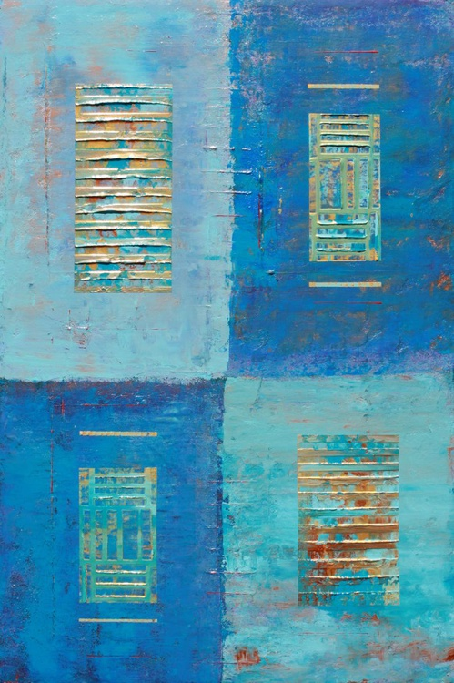 Four Windows Blue Abstract - Image 0