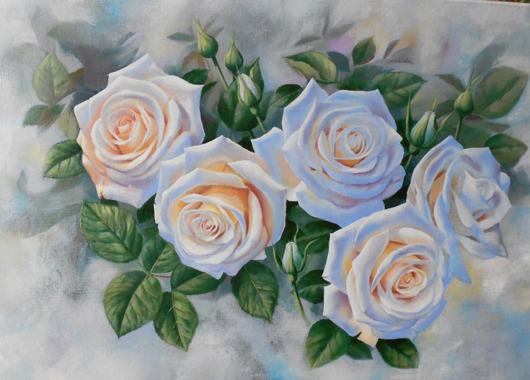 White roses, Oil on canvas, FREE SHIPPING - Image 0