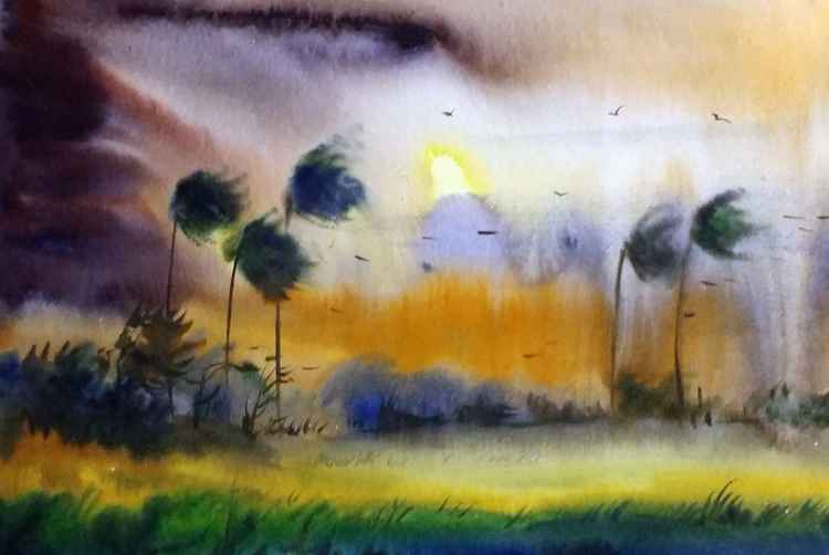 Monsoon Rural Landscape - Watercolor painting