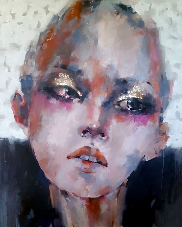 6-14-16 head study with gold eye makeup - Image 0