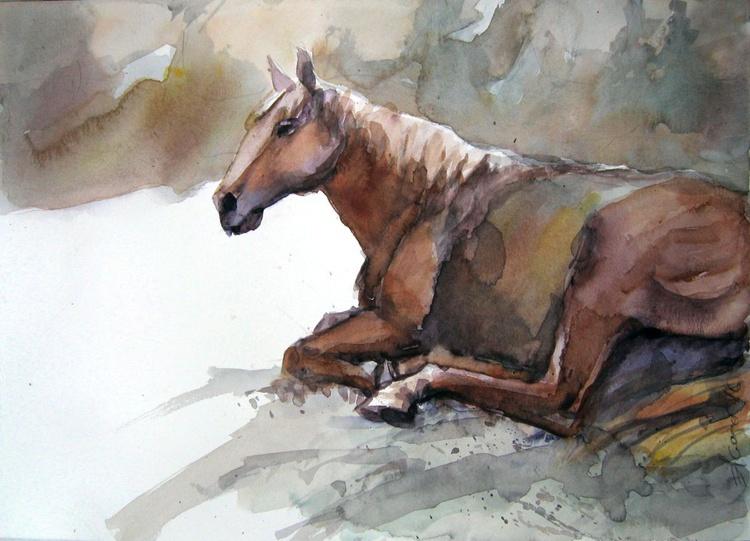 lying horse - Image 0