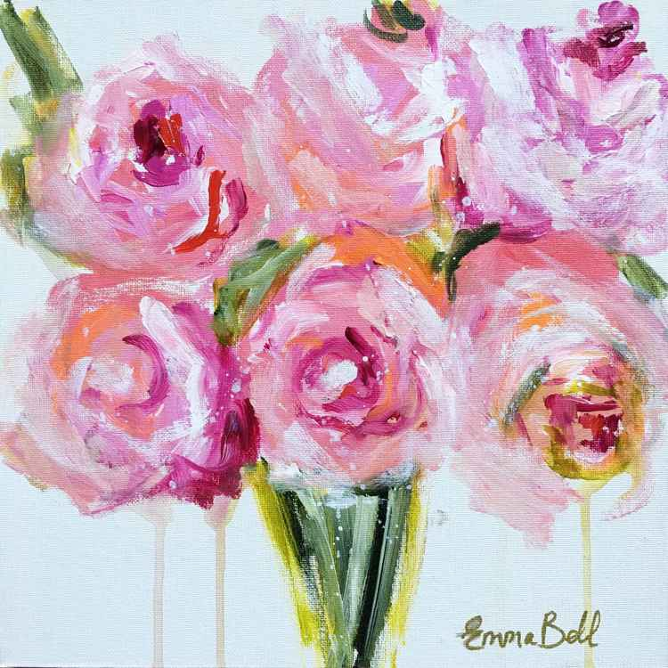 Peonies mini painting on canvas board