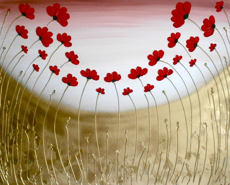 Red Peaceful Poppy Field - Image 0