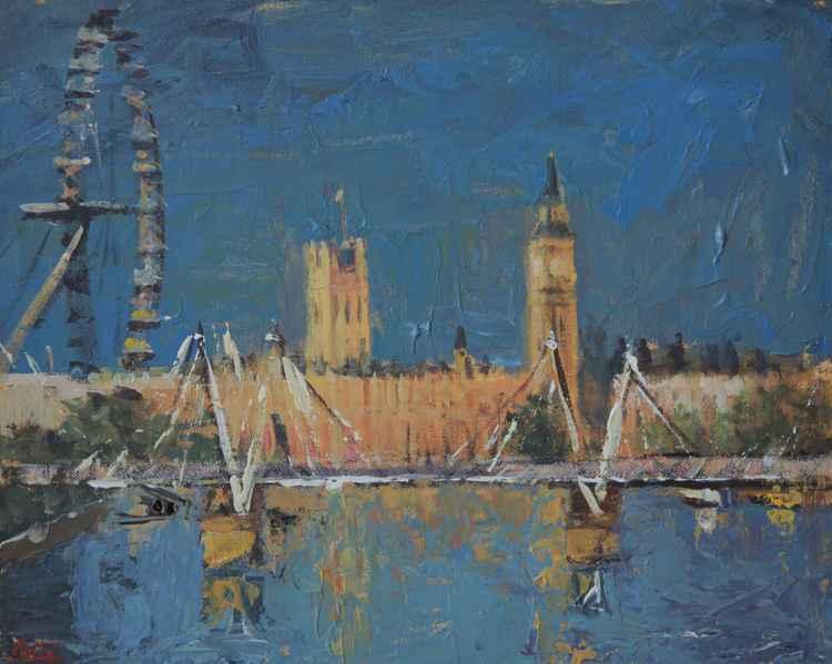 London Eye, Golden Jubilee Bridges, Houses of Parliament, London