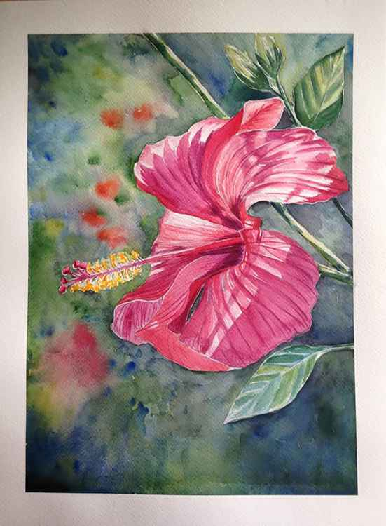 Original one of a kind watercolor artwork - The red tropical flower