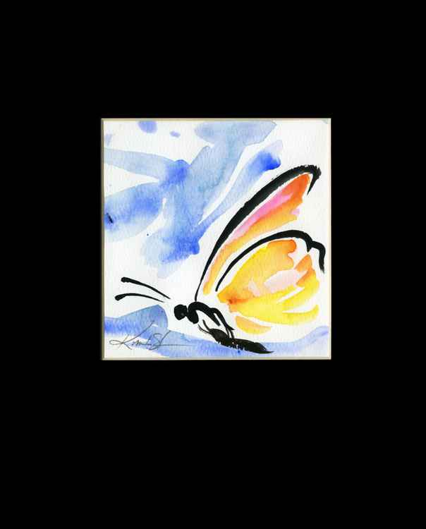 Monarch Butterfly Watercolor Painting, Abstract- Butterfly Love No. 963 -