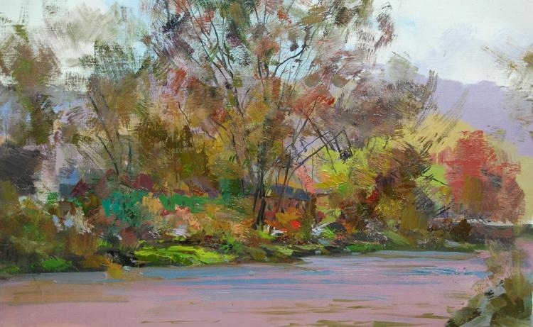 """Oil Landscape Painting """" Tysa River"""" ( 436l15 ) - Image 0"""