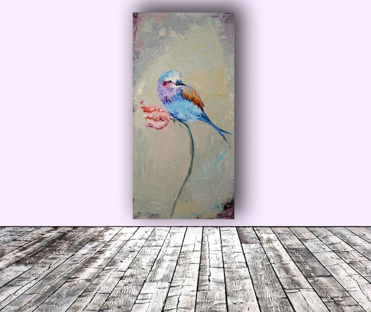 Spring Song - Bird on Tulip, Original Oil Painting, Ready to Hang - Image 0