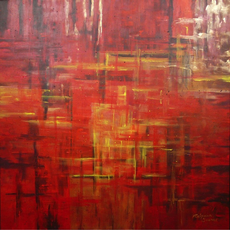 Snug In Red  (100x100cm) - Image 0